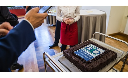 a cake commemorating the fifth anniversary of AIB's central and eastern europe chapter