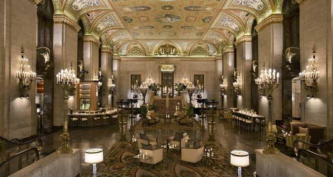 front lobby of the palmer hotel in chicago