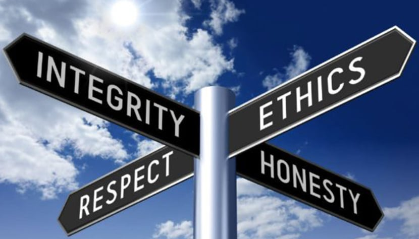signs with the words integrity, respect, ethics, and honesty