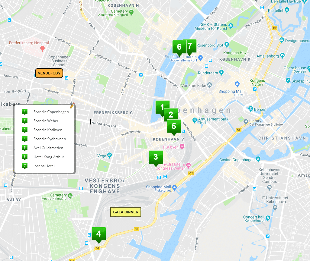 map of official conference hotels