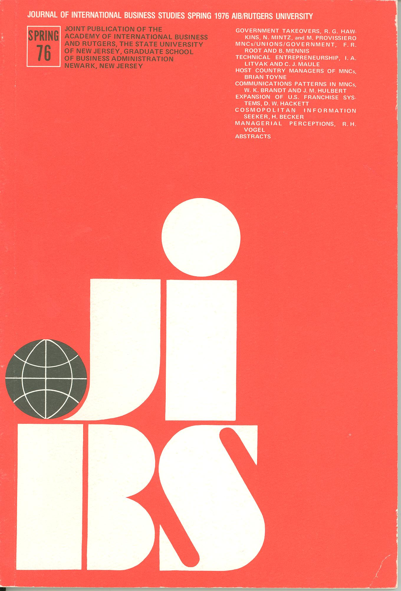 Cover design from a 1976 issue of JIBS
