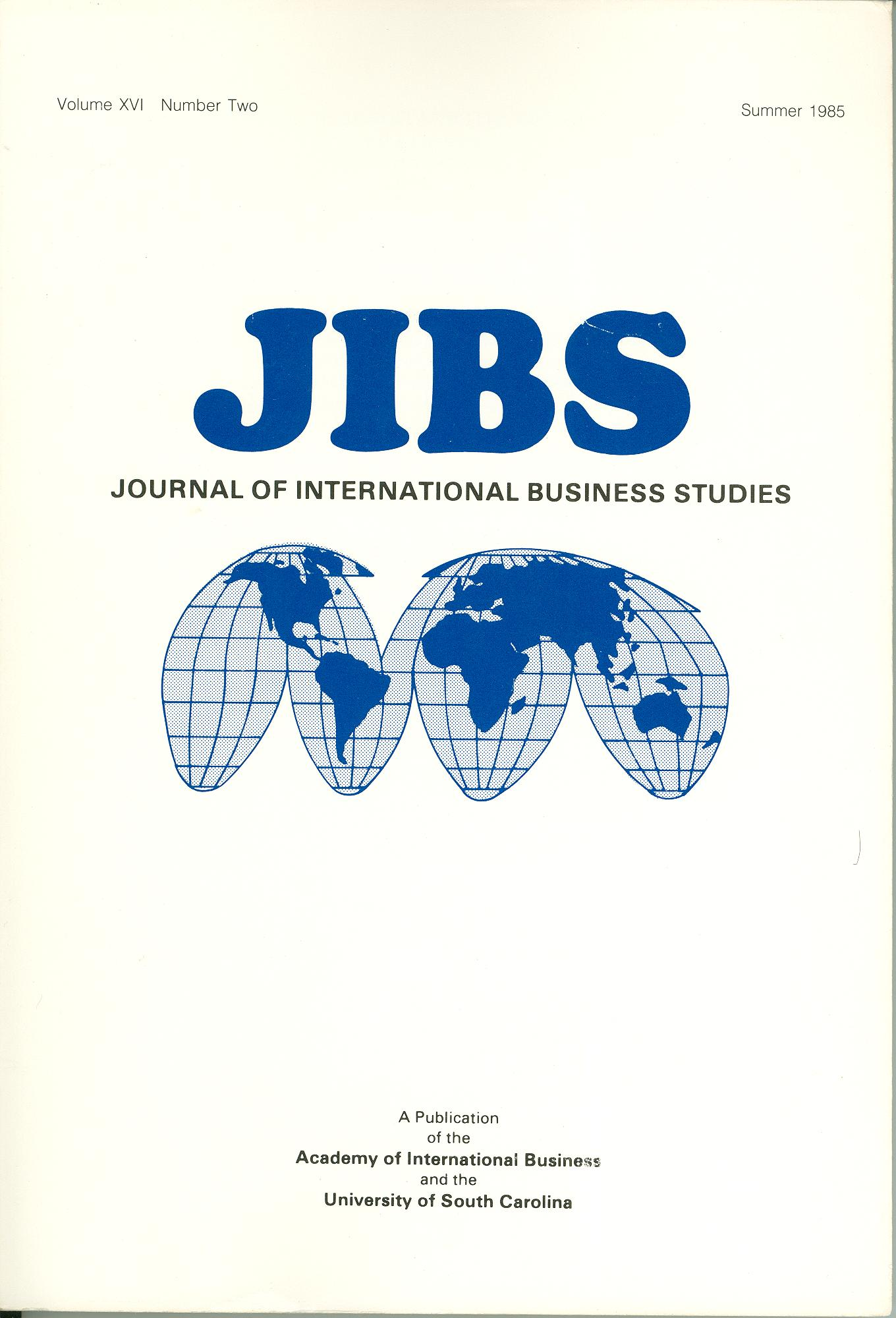 Cover design from a 1985 issue of JIBS