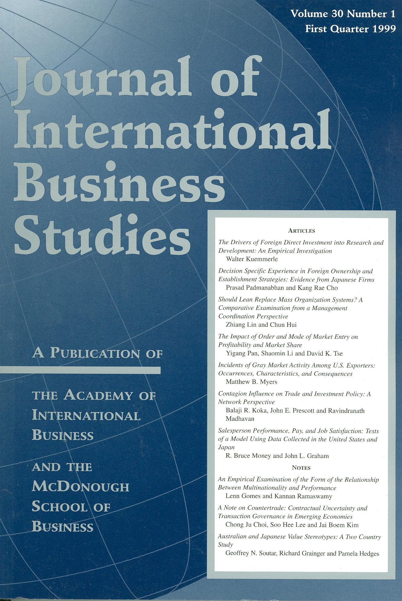 Cover design from a 1999 issue of JIBS