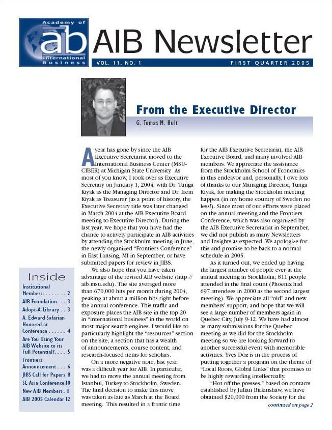 Cover of a 2005 edition of the AIB Newsletter