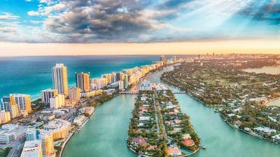 Aerial view of Miami's Biscayne Bay