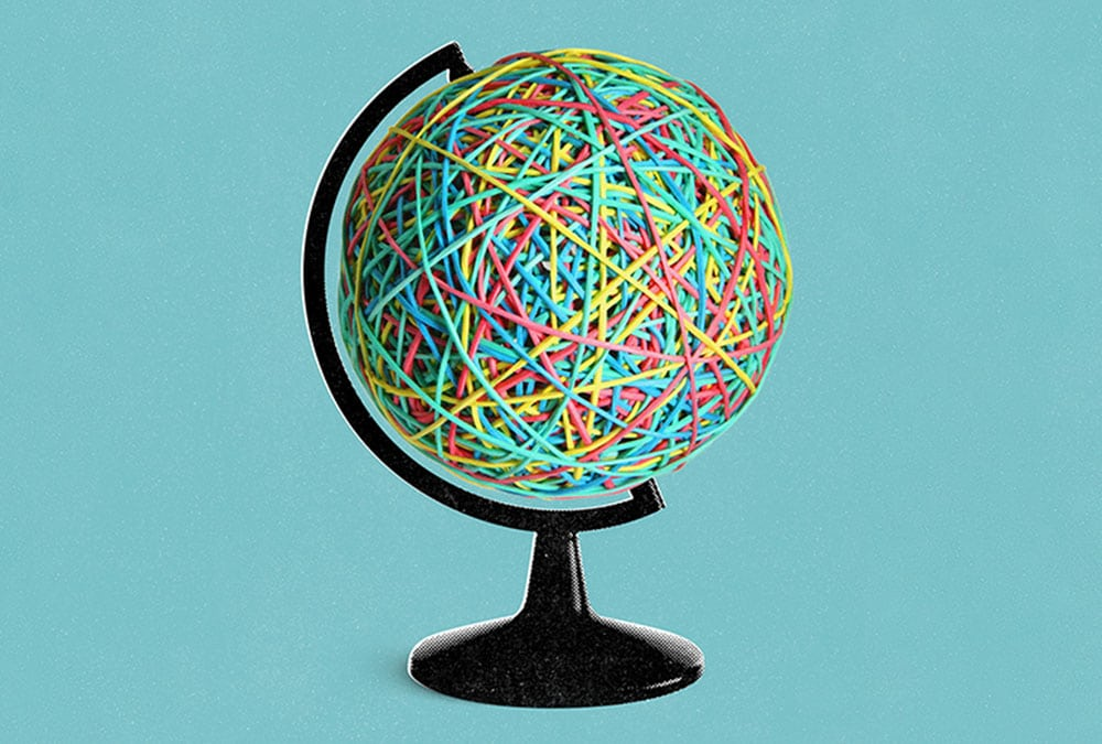 globe covered in rubber bands