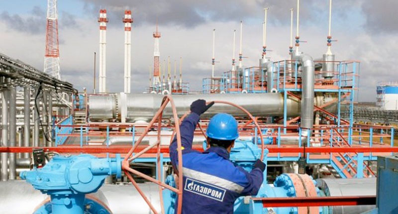 A work site for Russia's state-owned energy corporation, Gazprom