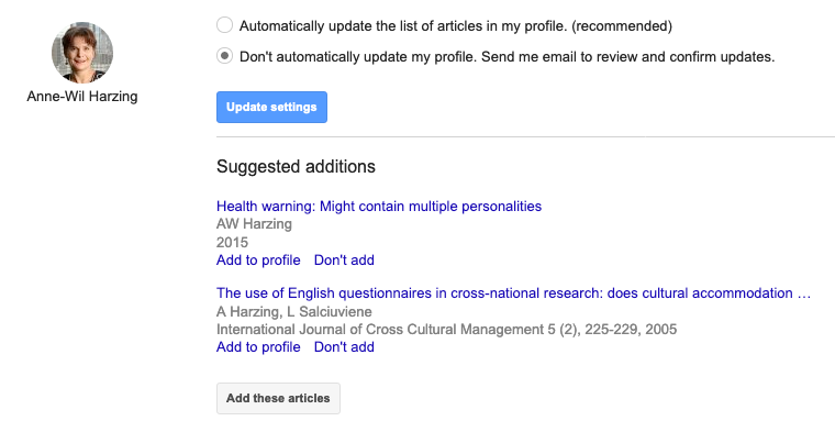 illustration of user selecting to disable automatic updates on Google Scholar