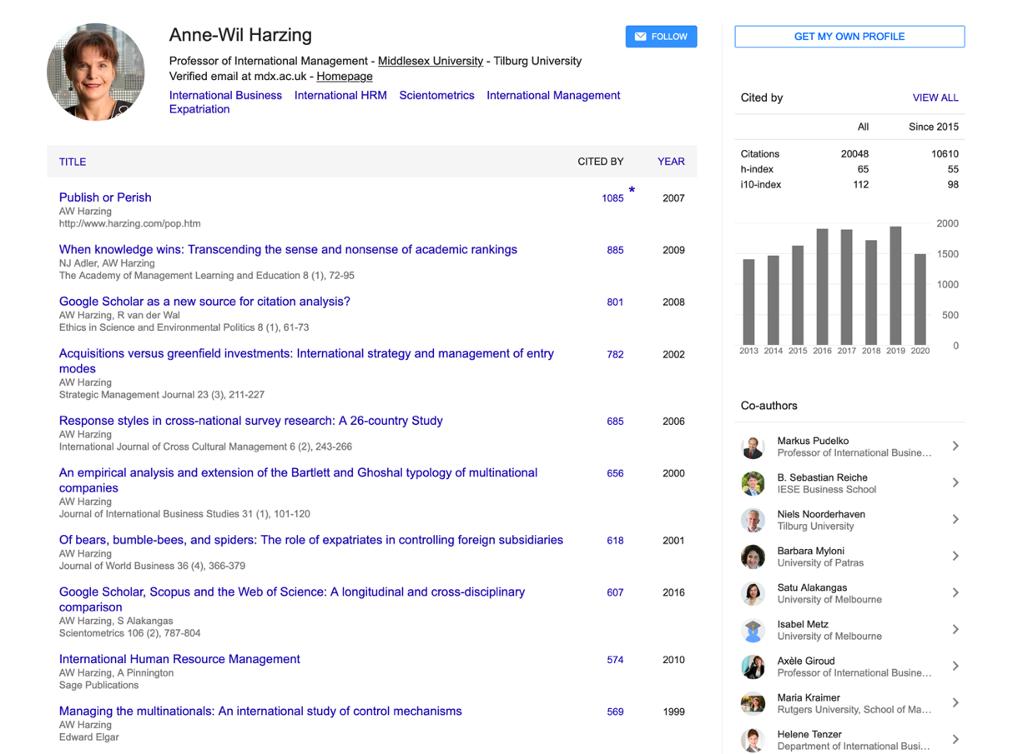 example of a Google Scholar profile