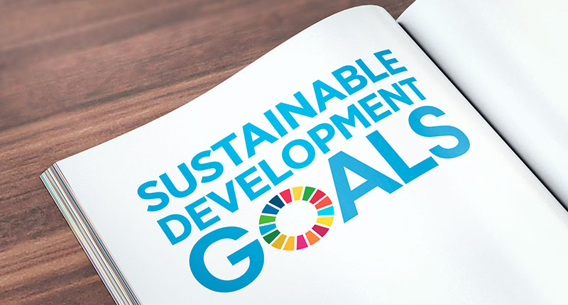 book displaying sustainable development goals logo