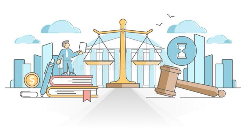 illustration of people conducting business within a set of legal regulations