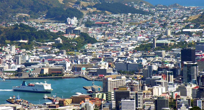 An aerial view of Wellington, New Zealand
