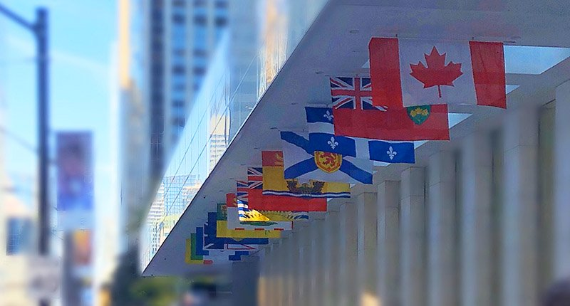 Canadian flag in a row of international flags
