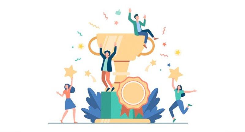 illustration of people celebrating with awards