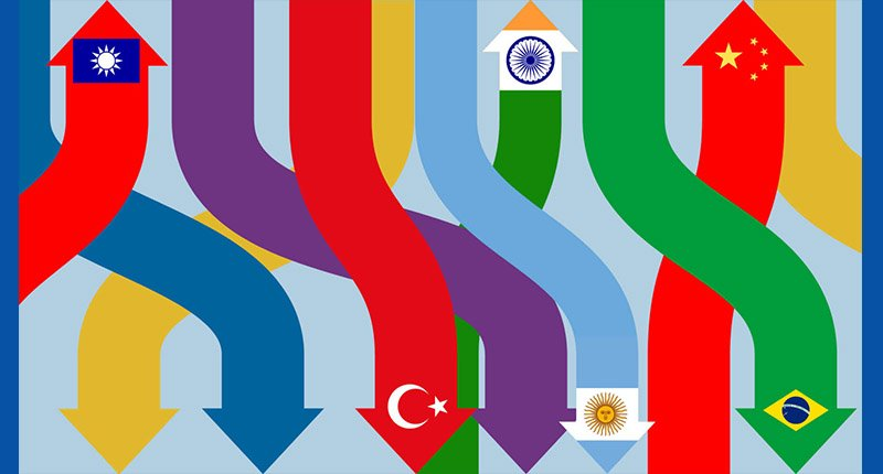 illustration of flags from emerging economy countries