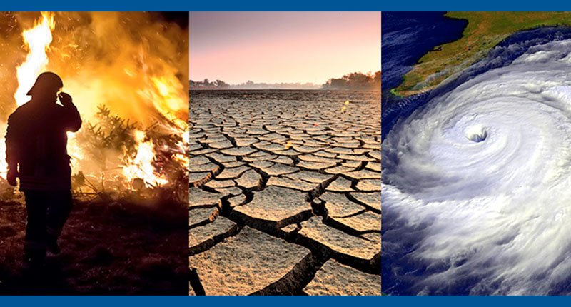 three images showing the effects of climate change and global warming