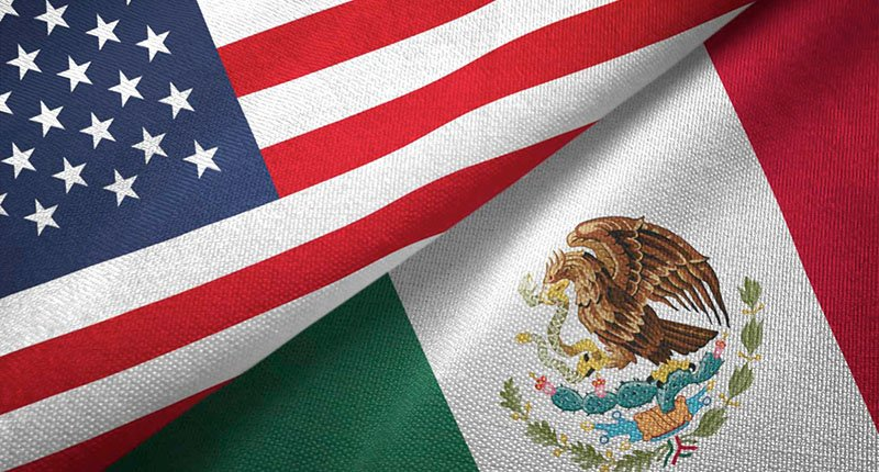american and mexican flags